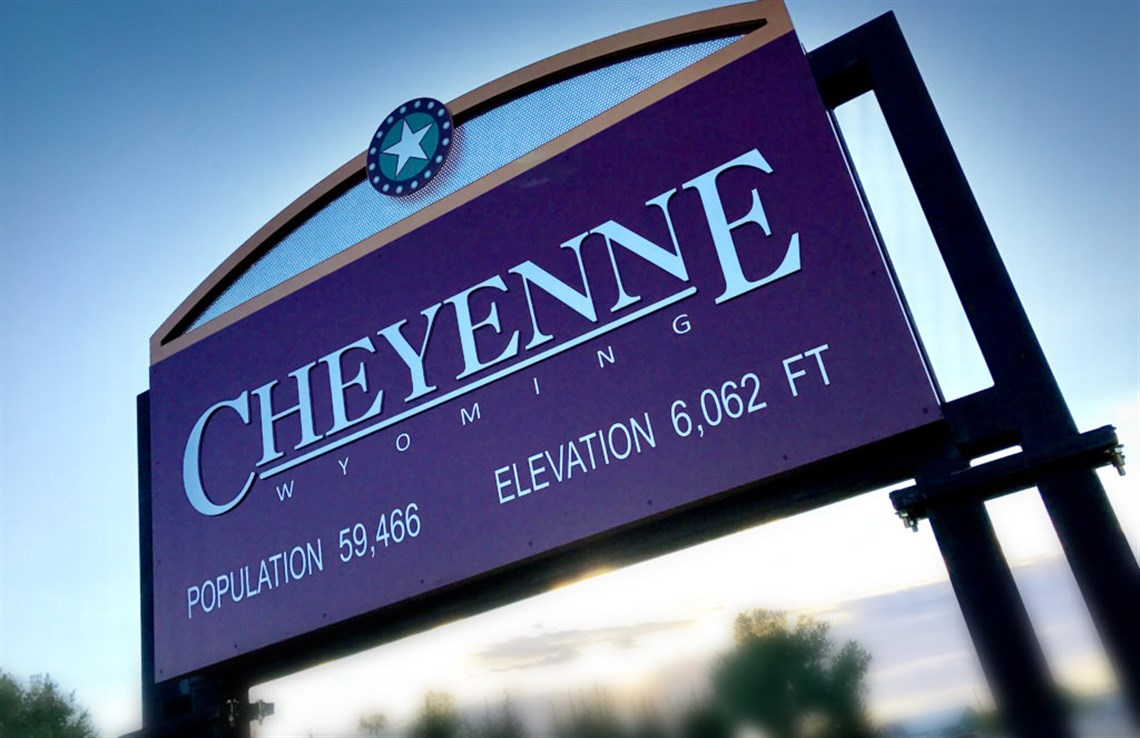 A Cheyenne welcome sign